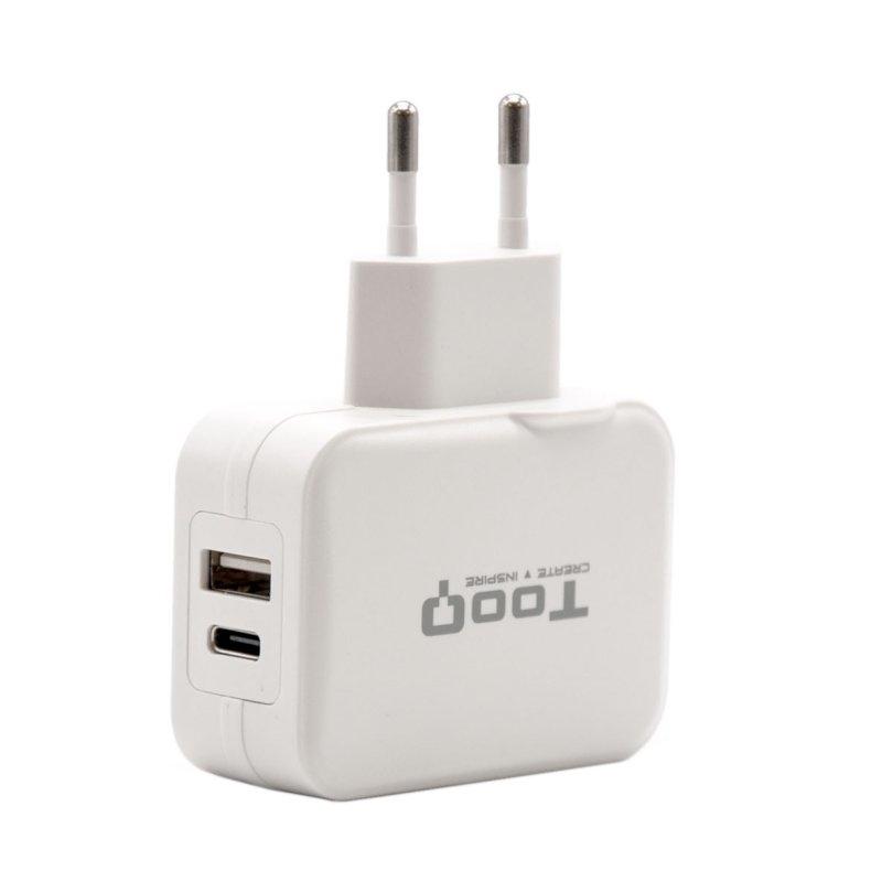 Tooq Cargador de pared doble USB-c+ USB A