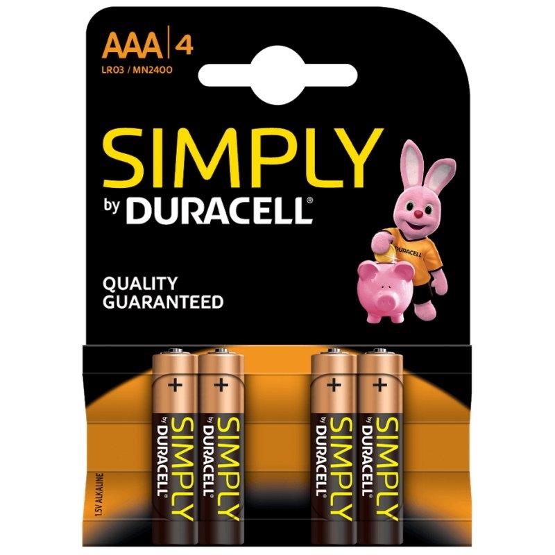 Duracell Simply Pila Alcalina AAA LR03 Blister*4