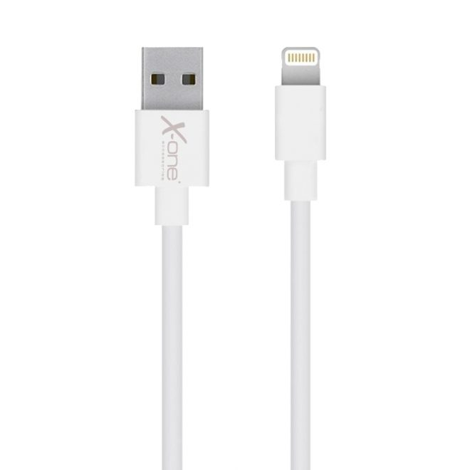 X-One Cable Lightning Plano 2m Blanco