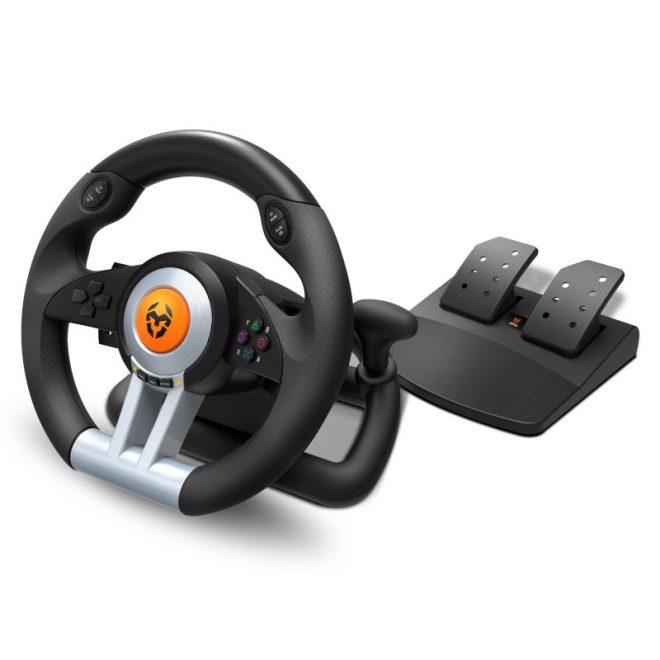 Krom Juego de Volante y pedales K-Wheel Multip.