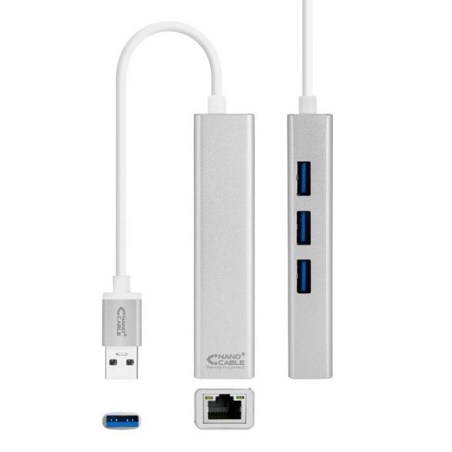 Conversor USB3.0 ETHERNET+3xUSB 3.0
