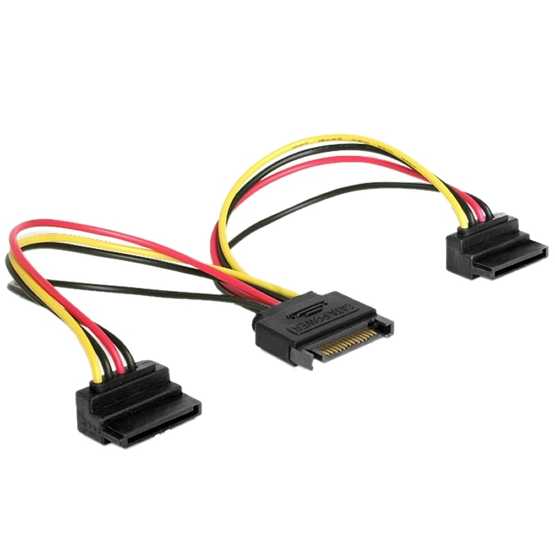 Gembird Cable Doble Alim. SATA Conect. 90º 0.15 Mt